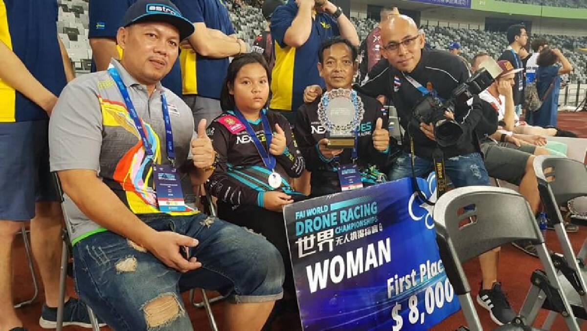 """""""น้องมิ้ว"""" เด็กไทย 11 ขวบ คว้าแชมป์แข่งโดรนรายการระดับโลก"""