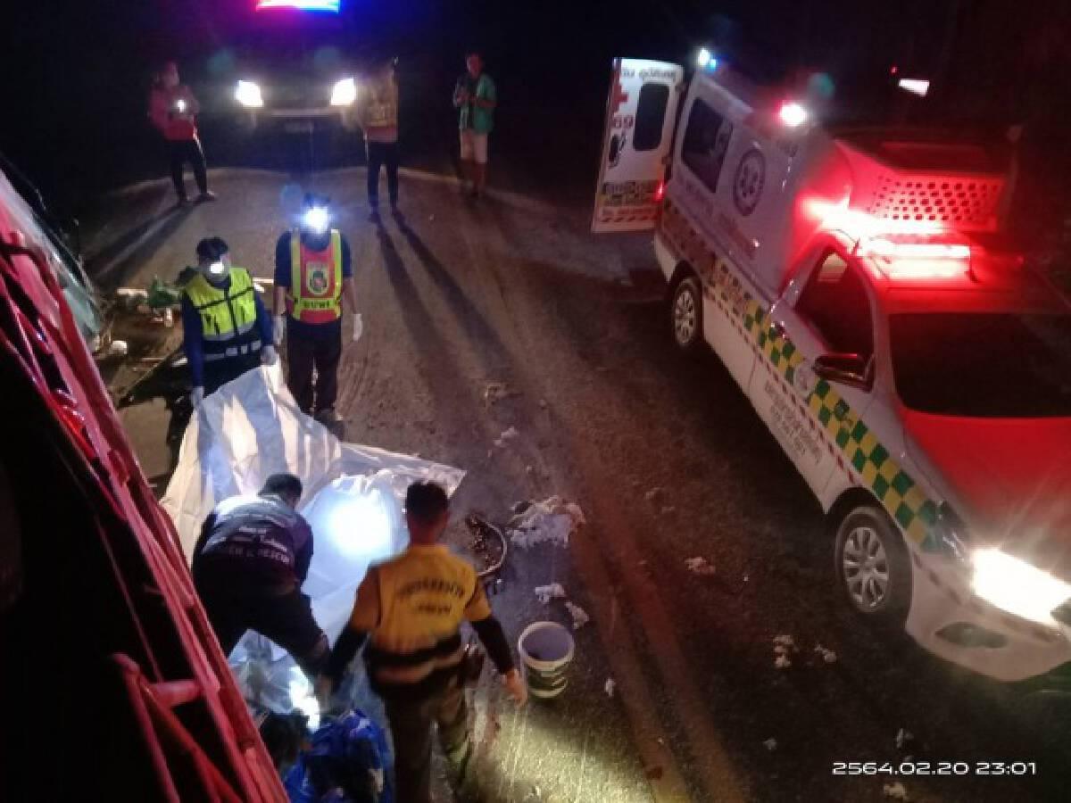 รถบรรทุกหกล้อเสียหลักลงข้างทางบาดเจ็บ 5 ดับ1