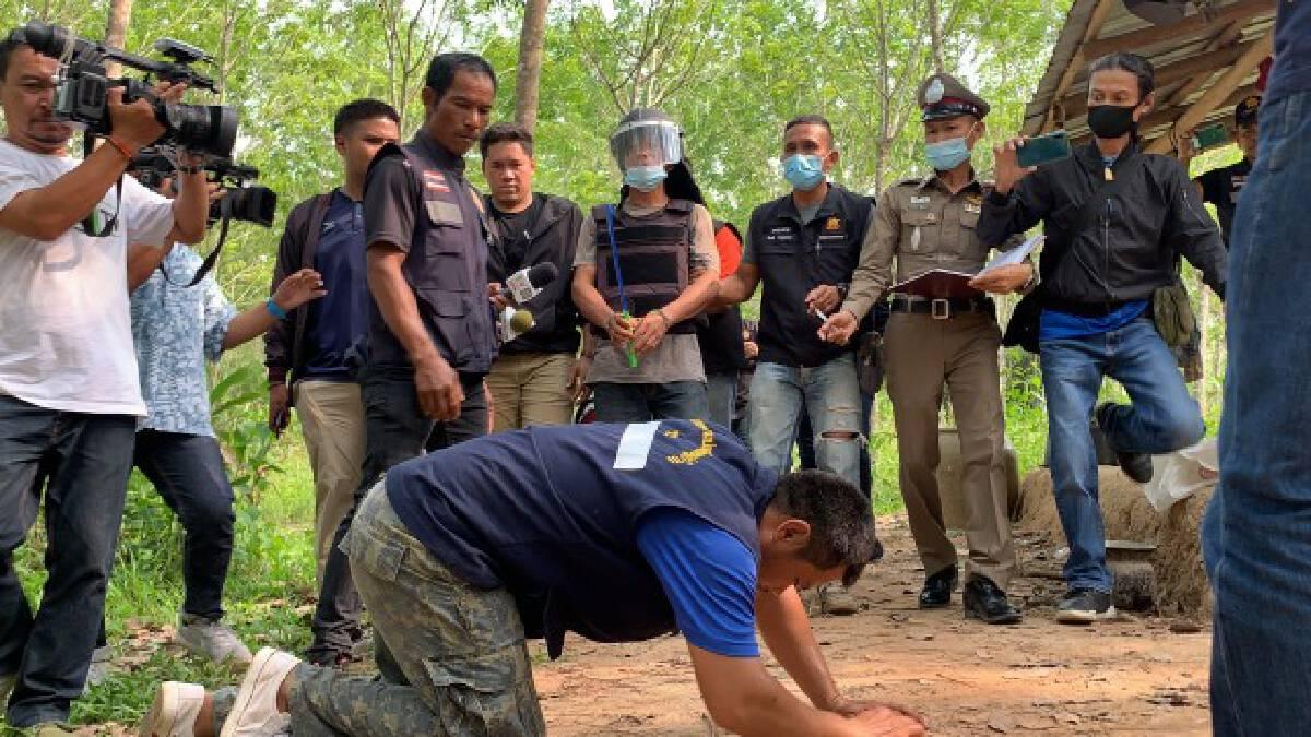 คุมตัวหนุ่มลาวมือมีดฆ่าโหด3ศพ คาสวนยางพาราทำแผน