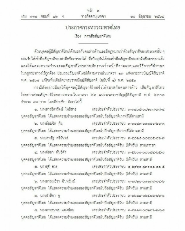 ราชกิจจานุเบกษา ประกาศ 31 คนไทย ขอสละสัญชาติ ตามมาตรา 22 แห่งพ.ร.บ.สัญชาติ ปี 2508