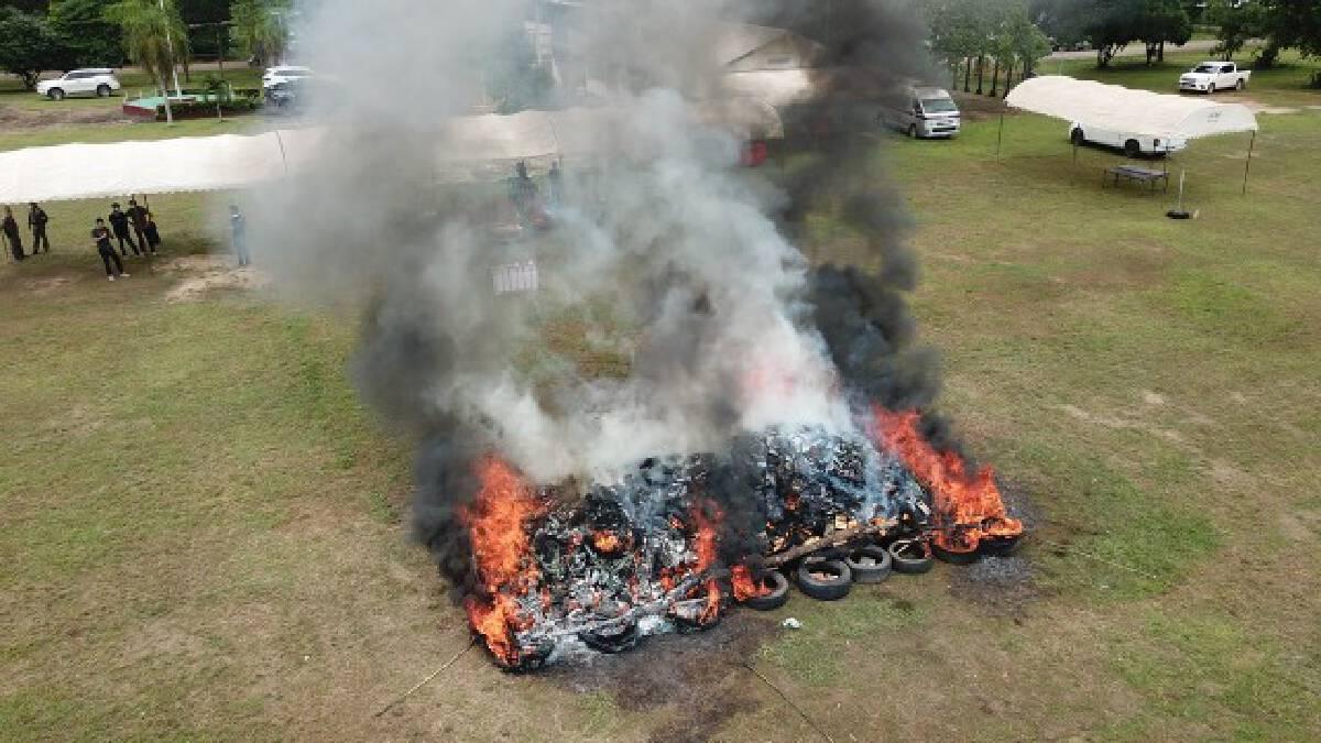 เผาทำลายกัญชาสิ้นสุดคดีกว่า 4 ตัน