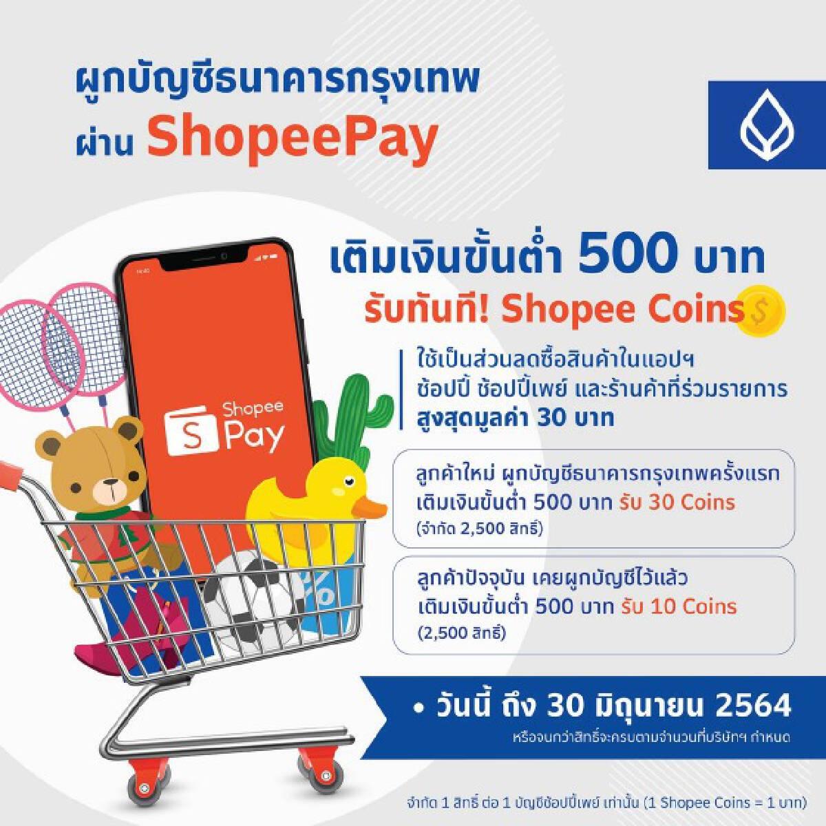 ธ.กรุงเทพ จับมือ Shopee ผูกบัญชีผ่าน ShopeePay รับสิทธิพิเศษสุดคุ้ม!