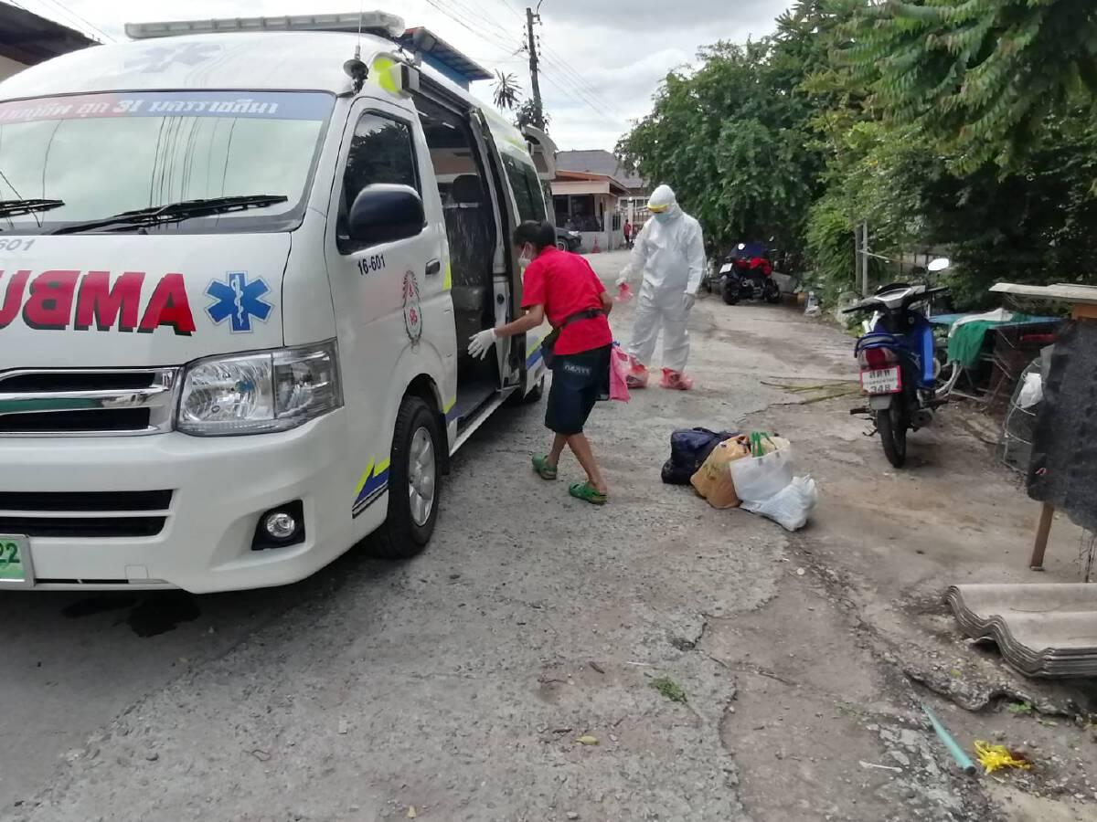 พระและชมรมกำนันผู้ใหญ่บ้านจัดรถกู้ภัยรับผู้ป่วยโควิดกลับรักษาบ้าน