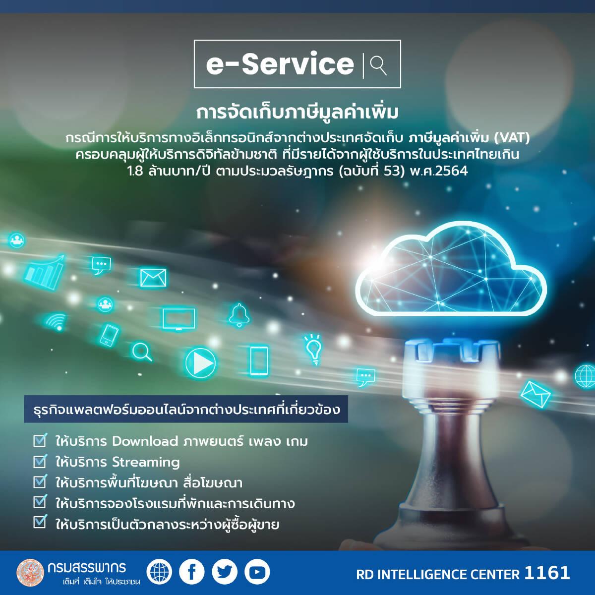 เริ่ม 1 ก.ย. สรรพากร เก็บภาษี e - Service สร้างรายได้ 5,000 ล้านบาท ในปี 2565