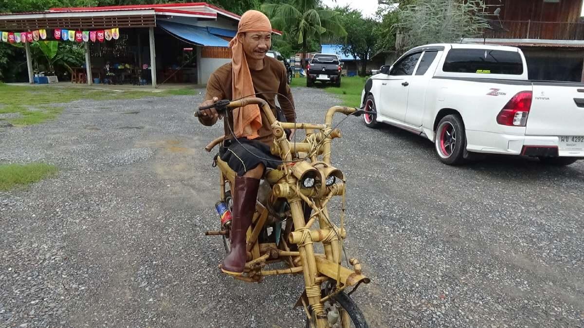 """คันเดียวในโลก! """"รถจักรยานยนต์ไม้ไผ่"""""""