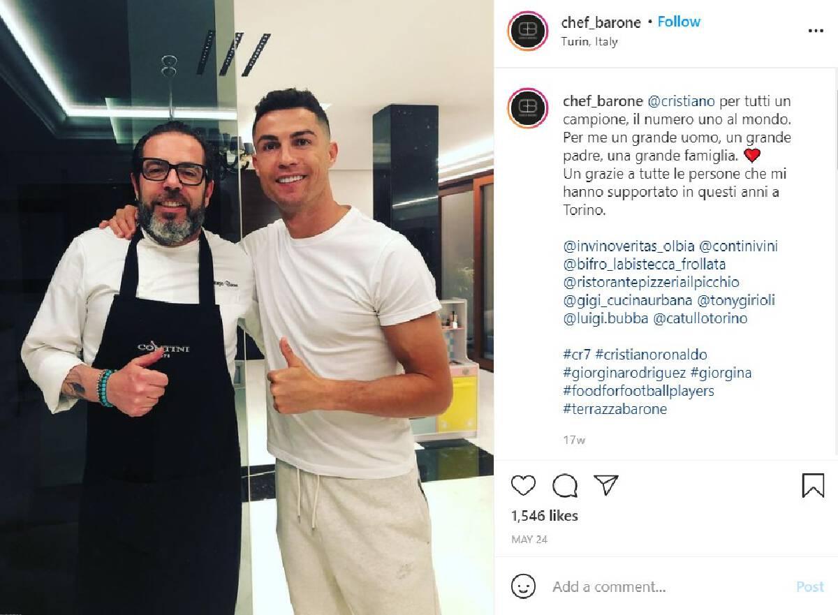 (จอร์โจ บาโรเน เชฟคู่ใจ โรนัลโด้ ระหว่างอยู่ที่ตูริน - ภาพจาก Instagram @chef_barone)