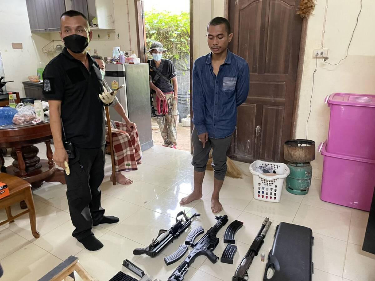 จับผู้ต้องหาพร้อมอาวุธปืนและเครื่องกระสุนเพียบ