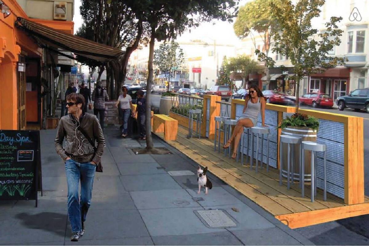 ทางเดินแบบ Parklets และ Slow Street ได้กลายเป็นสัญลักษณ์อันดีงามของชาวเมือง ยิ่งในช่วงการระบาดของโควิด-19 ยิ่งทำให้มี parklets เกิดขึ้นมากมาย