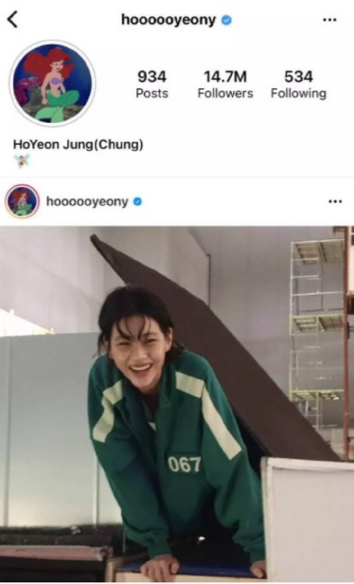"""สุดปัง """"จอง โฮยอน"""" แห่ง Squid Game ขึ้นอันดับ 1 มีผู้ติดตามมากสุดในเกาหลี"""