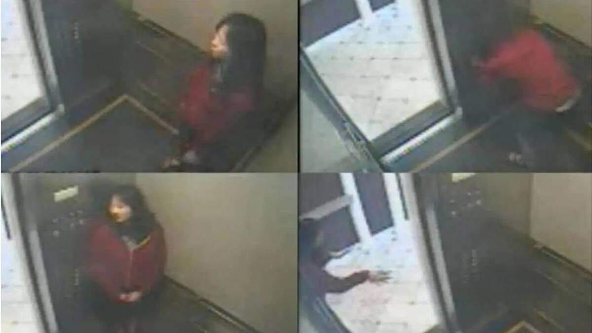 ภาพจากกล้องวงจรปิดที่จับภาพของเอลิซา แลม ขณะอยู่ในลิฟต์