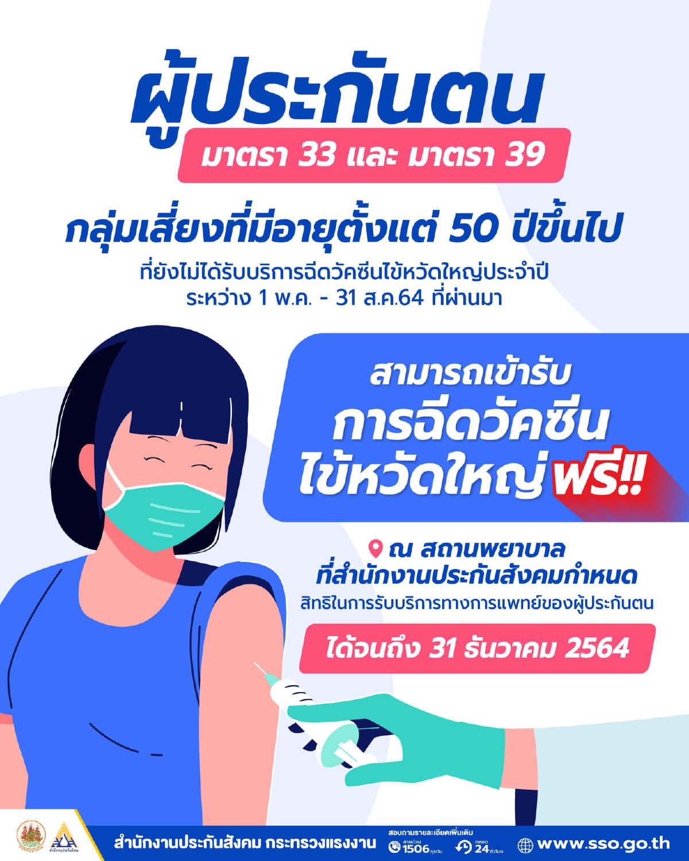 เปิดเงื่อนไข ผู้ประกันตน ม.33 ม.39 ฉีดวัคซีนไข้หวัดใหญ่ฟรีถึงสิ้นปี