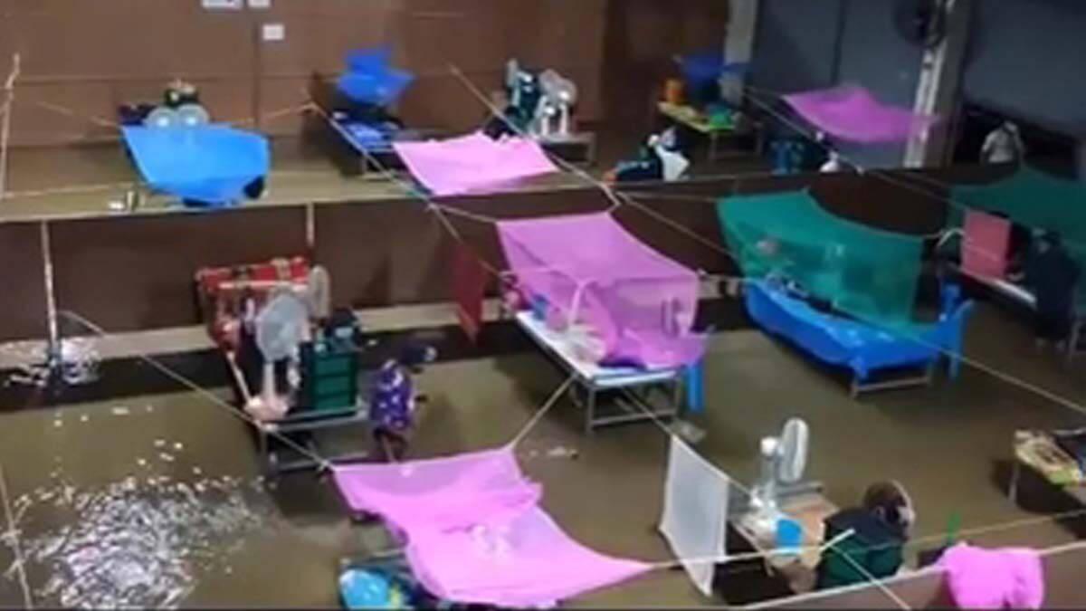 หนุ่มติดโควิด-19 โพสต์คลิปน้ำท่วมสถานที่กักตัว หลังฝนตกหนัก