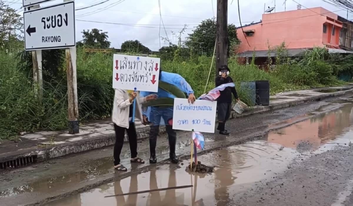 ชาวบ้านประชด ชวนปลูกทุเรียน-กล้วยด่าง บนถนนพังมากว่า 3 ปี