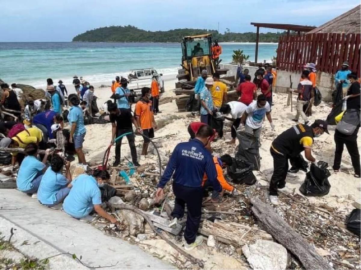 """นป.สอ.รฝ.491จัดกิจกรรม """"เก็บขยะหาดพัทยาเกาะหลีเป๊ะ"""""""