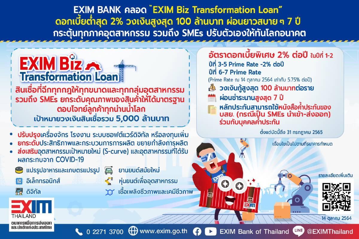 EXIM BANK ปล่อยกู้ดอกเบี้ย 2% วงเงินสูงสุด 100 ล้าน